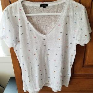 Rails Cara Rainbow Butterflies Linen-blend T-shirt